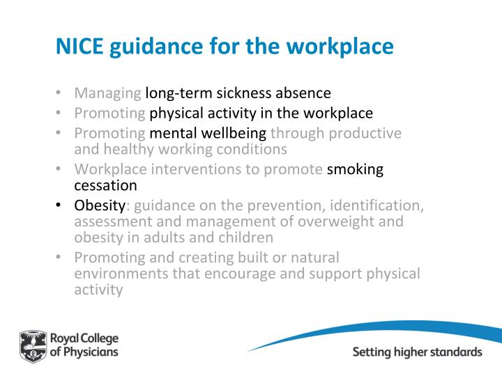 Nice guidance for the workplace