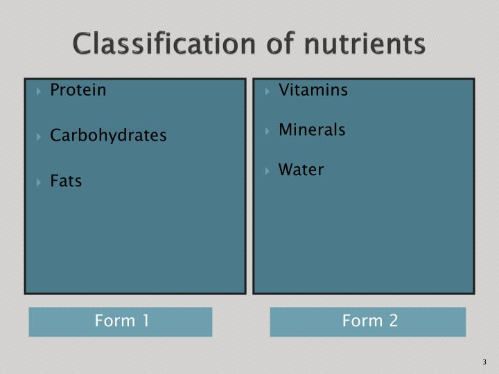 Classification of nutrients