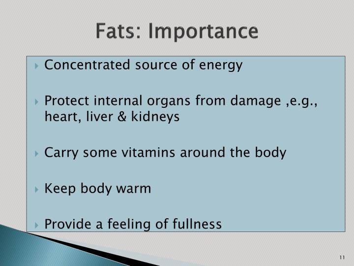 Fats: Importance