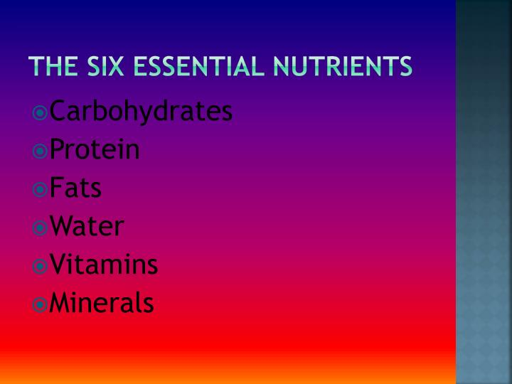 The six essential nutrients1