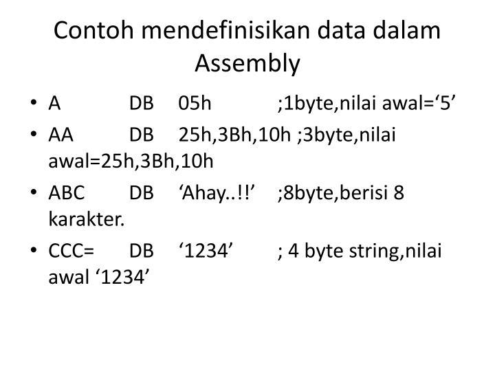 Contoh mendefinisikan data dalam assembly