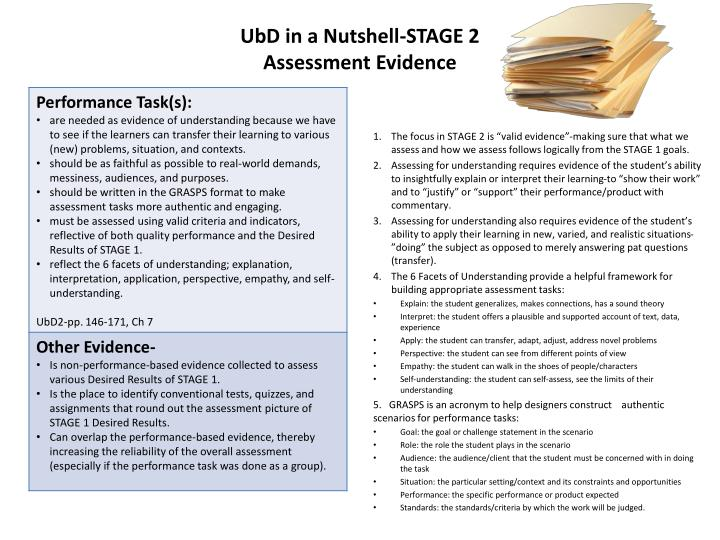 Ubd in a nutshell stage 2 assessment evidence