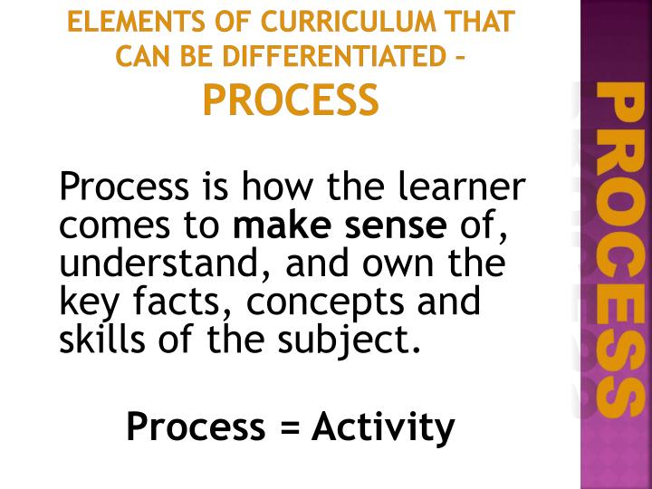 Elements of Curriculum that can be Differentiated –