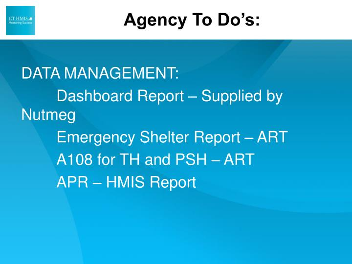 Agency To Do's: