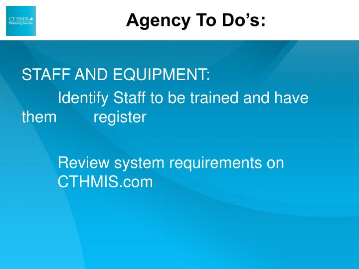 Agency To Do's