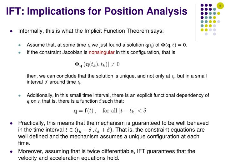 IFT: Implications for Position Analysis