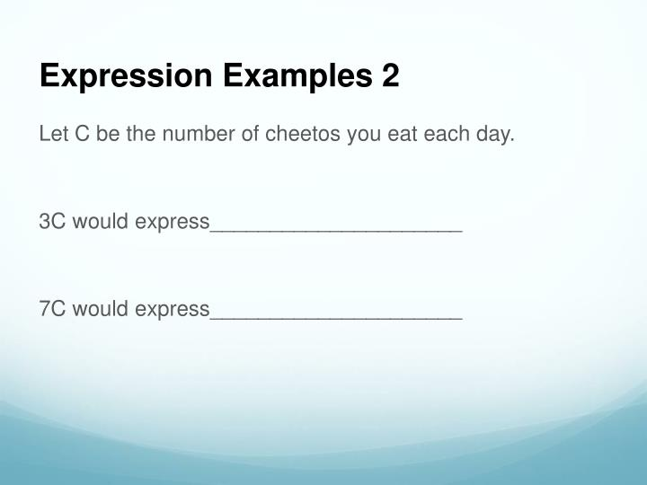 Expression Examples 2