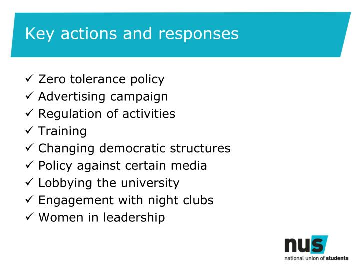 Key actions and responses
