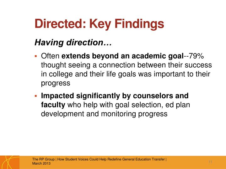 Directed: Key Findings