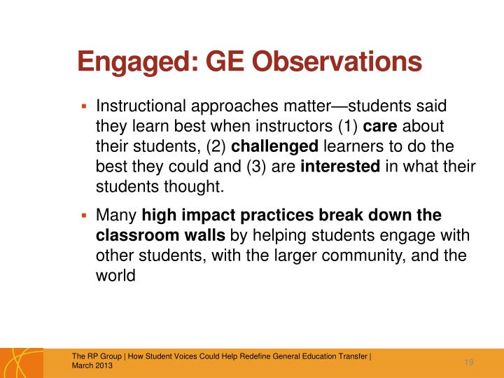 Engaged: GE Observations