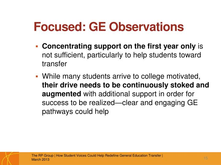 Focused: GE Observations