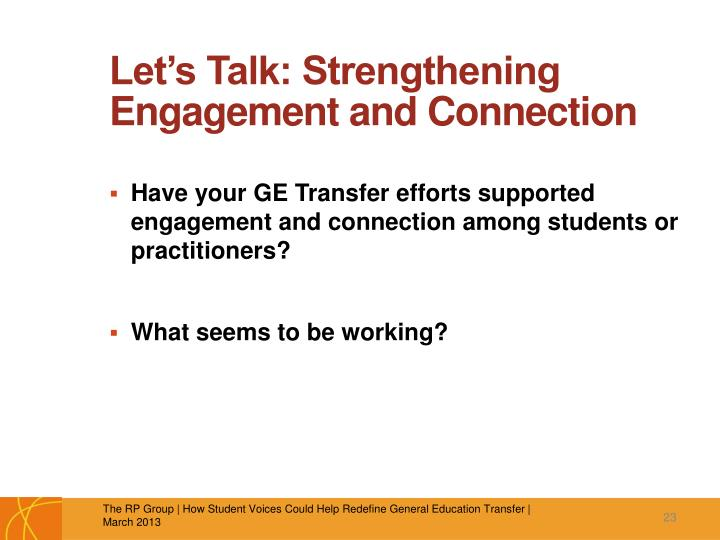 Let's Talk: Strengthening Engagement and Connection