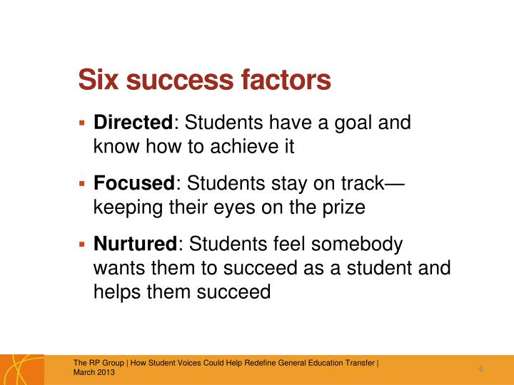 Six success factors