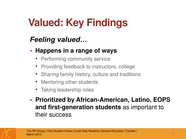 Valued: Key Findings