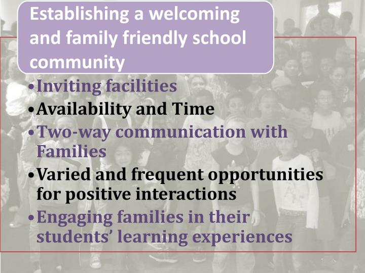 Establishing a welcoming and family friendly school