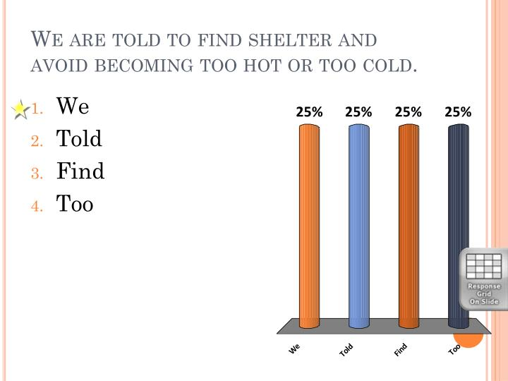 We are told to find shelter and avoid becoming too hot or too cold.