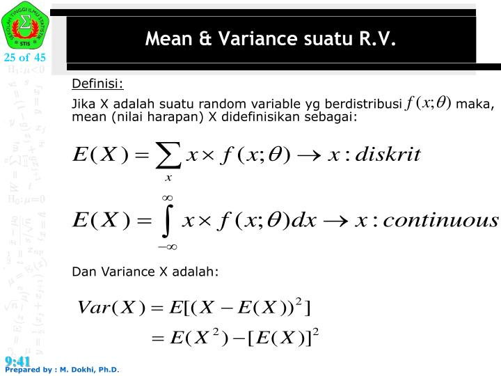 Mean & Variance suatu R.V.