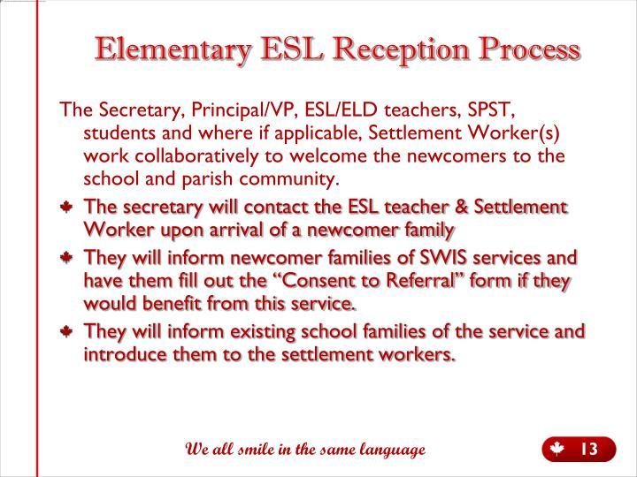 Elementary ESL Reception Process