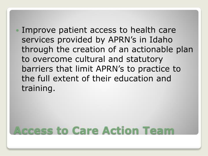 Improve patient access to health care services provided by APRN's in