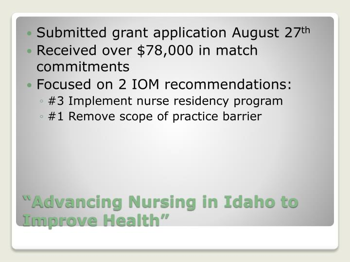 Submitted grant application August 27