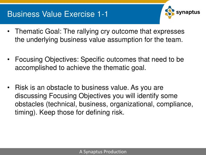 Business Value Exercise 1-1