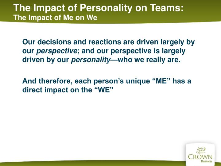 The Impact of Personality on Teams