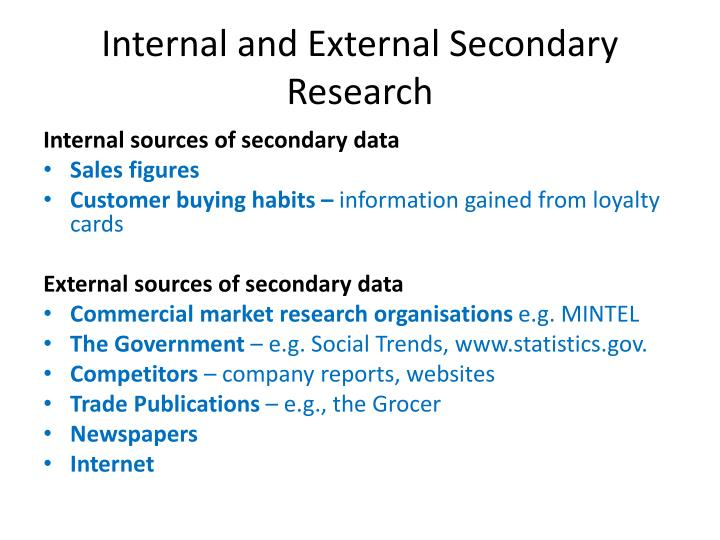 Internal and External Secondary Research