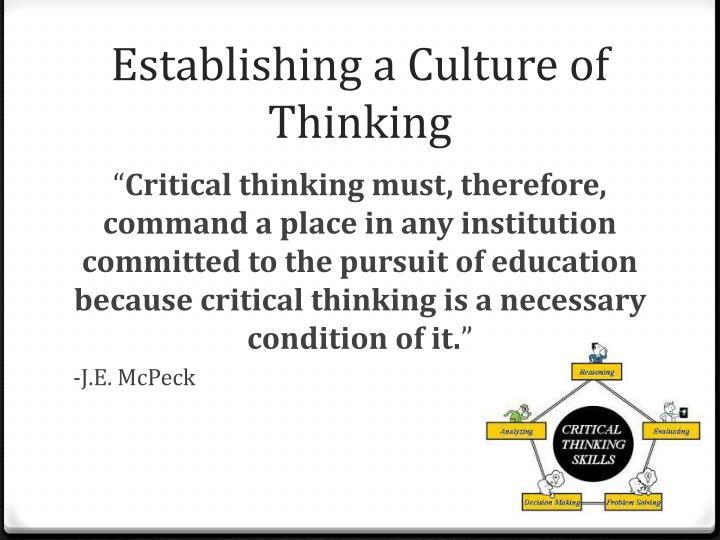 Establishing a Culture of Thinking