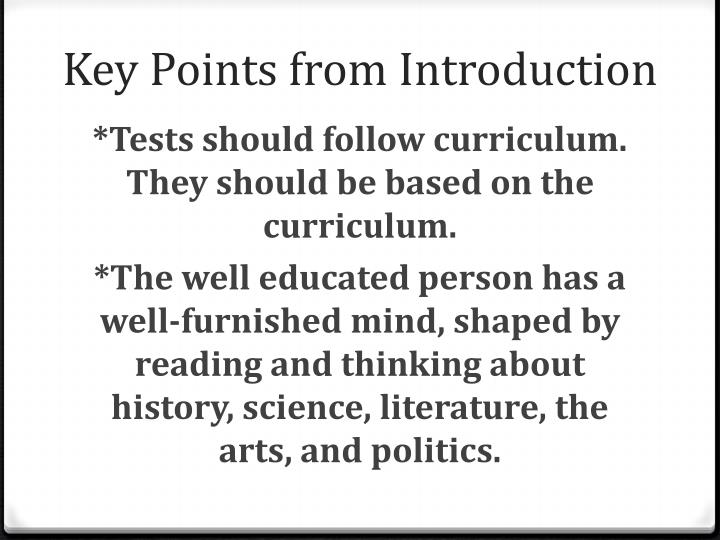 Key Points from Introduction
