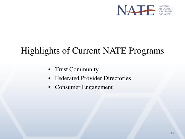 Highlights of Current NATE