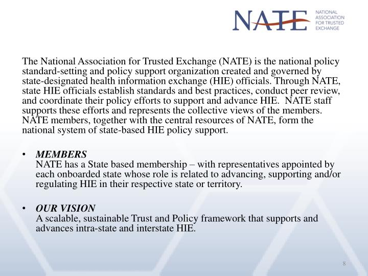 The National Association for Trusted Exchange (NATE) is the national policy standard-setting and policy support organization created and governed by state-designated health information exchange (HIE) officials.Through NATE, state HIE officials establish standards and best practices, conduct peer review, and coordinate their policy efforts to support and advance HIE. NATE staff supports these efforts and represents the collective views of the members. NATE members, together with the central resources of NATE, form the national system of state-based HIE policy support.
