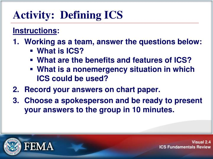 Activity:  Defining ICS