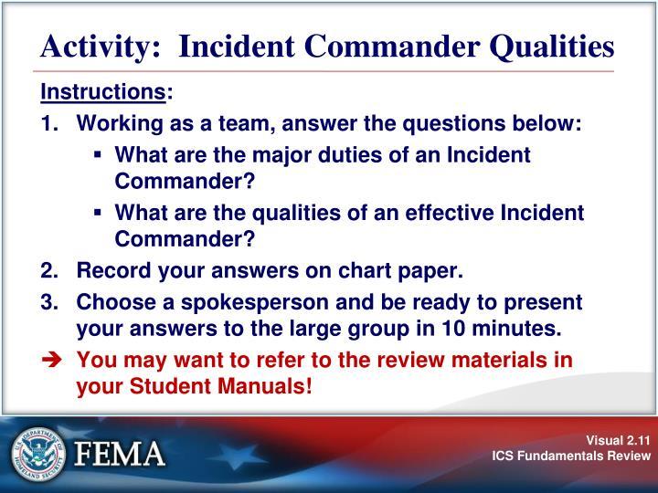 Activity:  Incident Commander Qualities