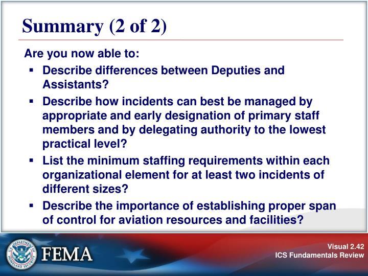 Summary (2 of 2)