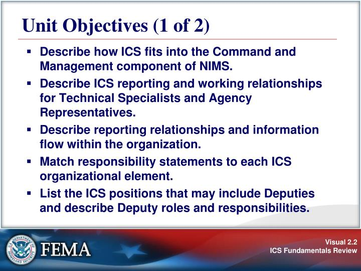 Unit objectives 1 of 2