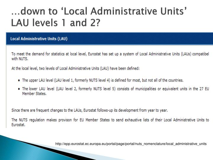 …down to 'Local Administrative Units'