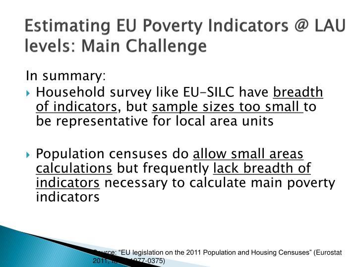 Estimating EU Poverty Indicators @ LAU levels: Main Challenge