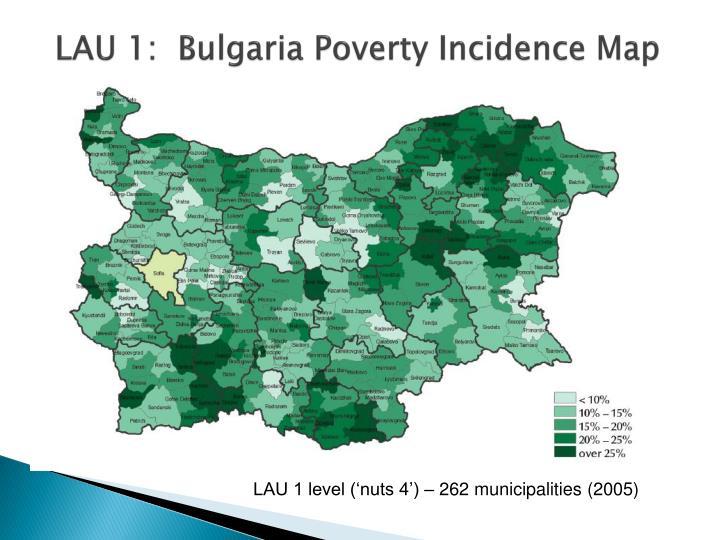LAU 1:  Bulgaria Poverty Incidence Map