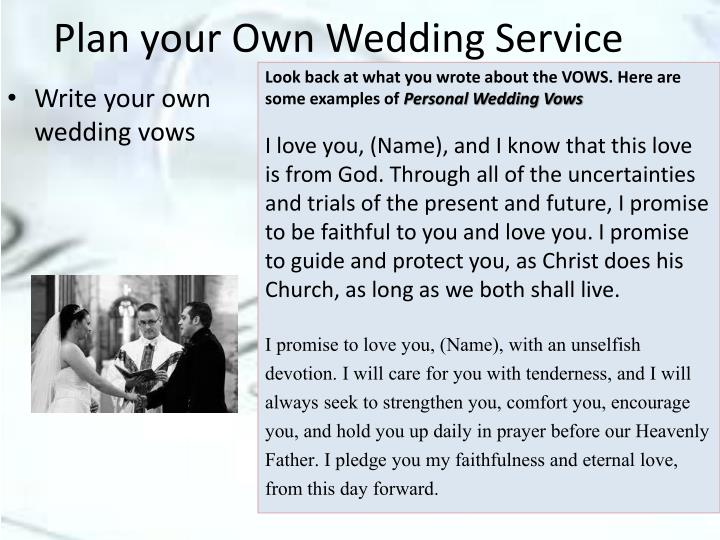 Plan your Own Wedding Service