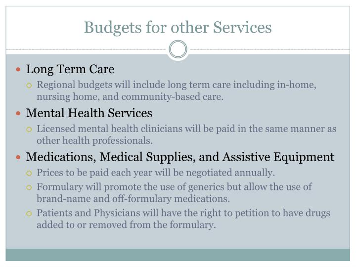 Budgets for other Services