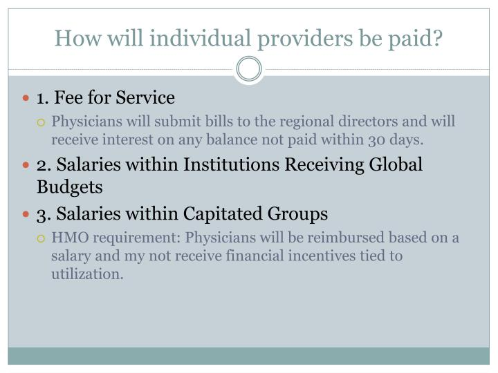 How will individual providers be paid?
