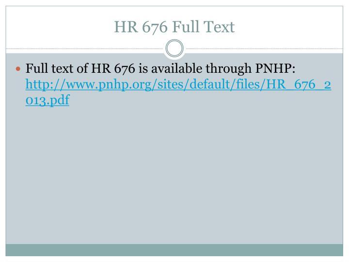 HR 676 Full Text
