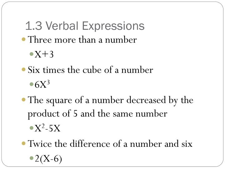1.3 Verbal Expressions