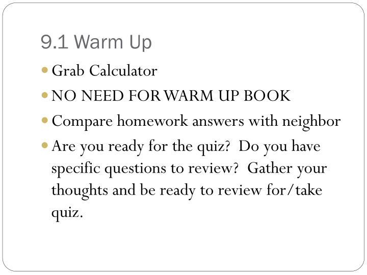 9.1 Warm Up