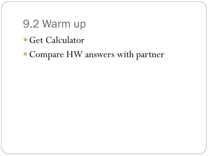 9.2 Warm up