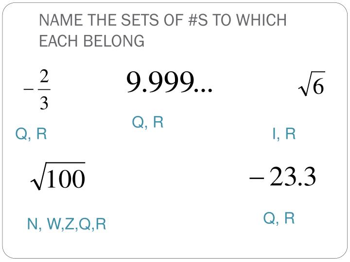 NAME THE SETS OF #S TO WHICH EACH BELONG