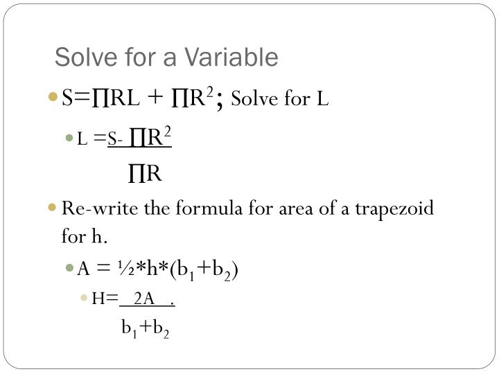 Solve for a Variable