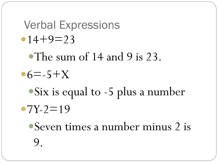 Verbal Expressions