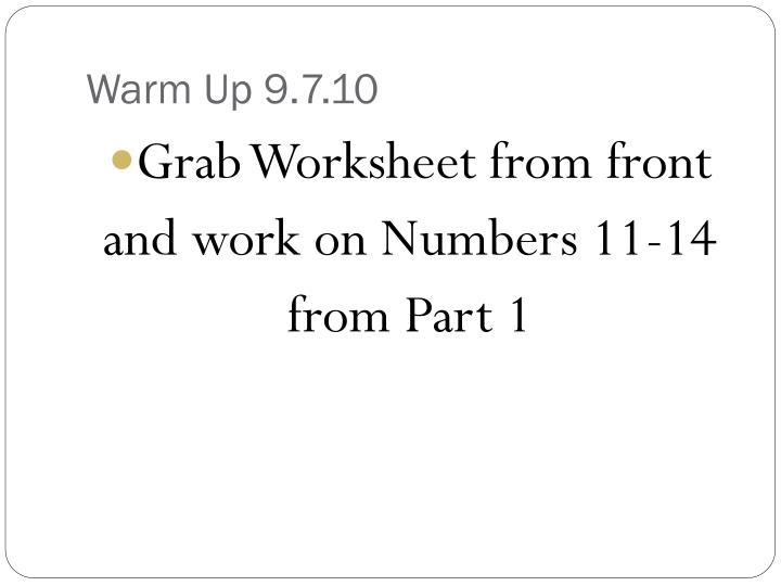 Warm Up 9.7.10