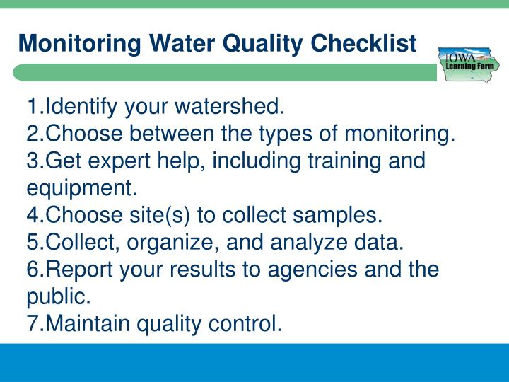 Monitoring Water Quality Checklist